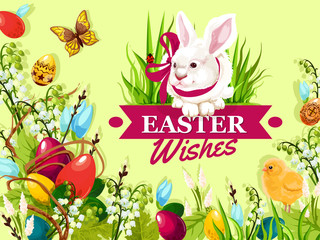 Easter rabbit cartoon greeting card. Coloured Easter eggs in green grass, white bunny with ribbon, chick, lily and tulip flowers, pussy willow tree branches. Easter spring holidays poster design