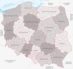 Vector map of Poland administrative division vol.3