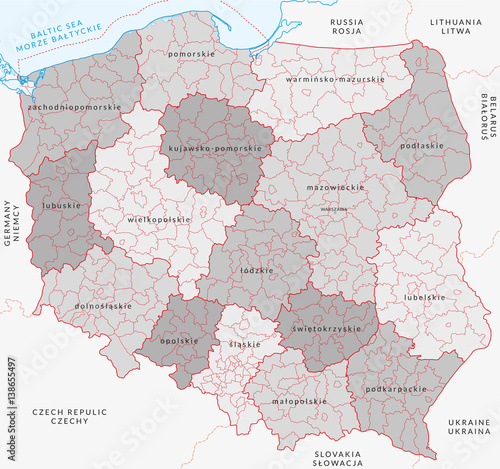 Vector map of Poland administrative division vol3 Stock image and