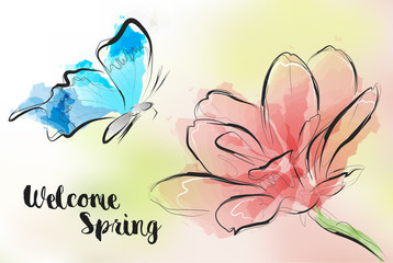 Welcome spring. Greeting card with a butterfly flying to a flower.