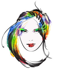 Woman face. Hand painted watercolor fashion illustration