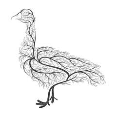 Farm animals. Stylized bushes domestic goose