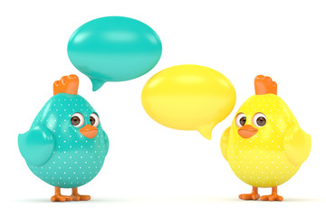 3d render of Easter chicks with speech bubbles