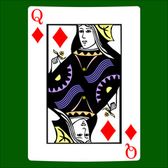 Queen diamonds. Card suit icon vector, playing cards symbols vector