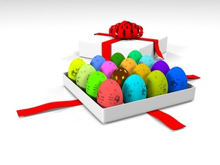 Easter egg in gift box 3d render