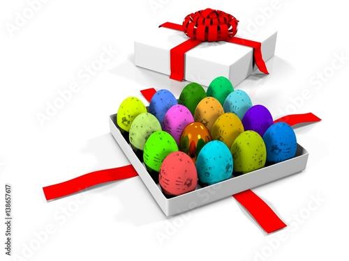 easter egg in gift box 3d render photo libre de droits sur la banque d 39 images. Black Bedroom Furniture Sets. Home Design Ideas