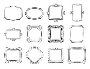 Vintage doodle picture frames, hand drawn photoframes vector set
