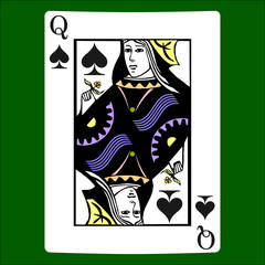 Queen spades. Card suit icon vector, playing cards symbols vector