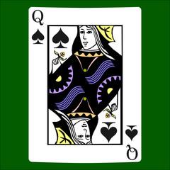 Queen spades. Card suit icon vector, playing cards symbols vector