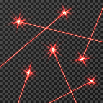 Red laser beams vector light effect isolated on transparent checkered background