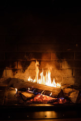 fire burns in the fireplace