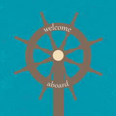 Vitage Poster with Ship Wheel