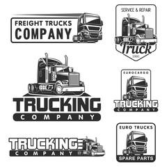 truck logo SET service and repair black white vector illustration