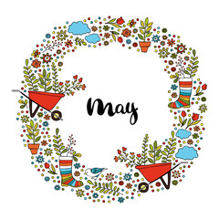 May. Spring pattern. Frame - wreath. Isolated vector objects on white background.