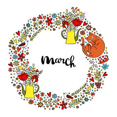 March. Spring pattern. Frame - wreath. Isolated vector objects on white background.