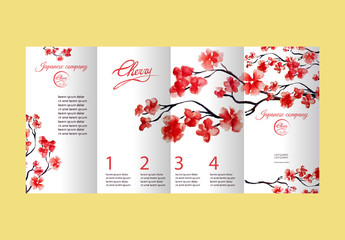 Four pages brochure with cherry blossom or sakura tree. Painted by watercolor. Corporate identity flyer design with logo element. Vector illustration.