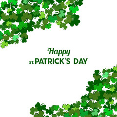 St Patrick's Day Vector background with shamrock. Lucky spring symbol. Clover in green shades isolated on white background. Border and frame - stock vector