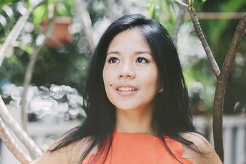 beautiful asian woman enjoying nature
