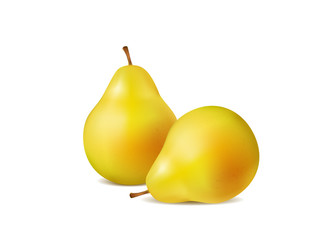 Fresh pears on a white background