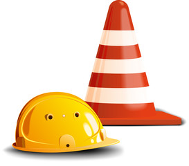 road cone and helm