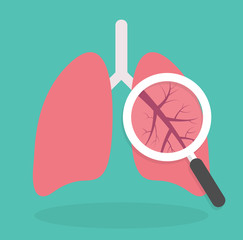 Lung inspection icon. Medical inspection concept. Magnifying glass on lungs. Flat design