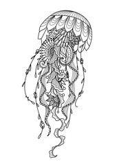 and drawn jellyfish zentangle style for coloring book, shirt design or tattoo – Stock Illustration
