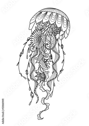 u0026quot and drawn jellyfish zentangle style for coloring book