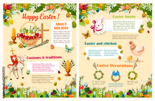 Easter Holidays Brochure Template. Easter Egg Hunt Basket With Spring  Flowers And Decorated Eggs,