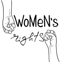 .Women`s rights .  Feminism poster with female fist.  Brush lettering. Vector design.
