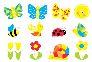 set of cute cartoon springtime nature objects : flowers, butterflies, bee,sun / joyful collection of spring vectors for children