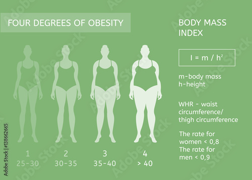 woman figure obesity stages body mass index infographics stock