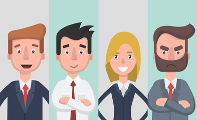 Group of working people, business men and business woman avatar icons.