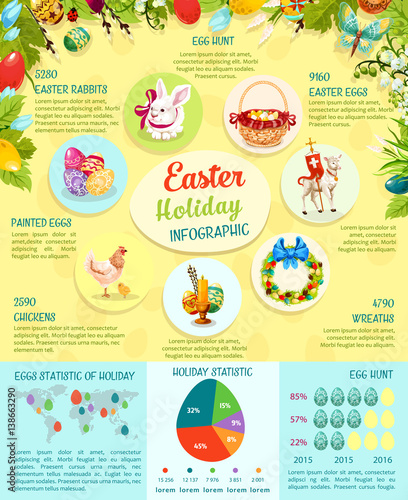 Easter infographic template design easter egg statistics for Easter egg fun facts