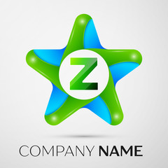 Letter Z vector logo symbol in the colorful star on grey background. Vector template for your design