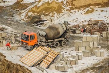 Mixer truck construction site