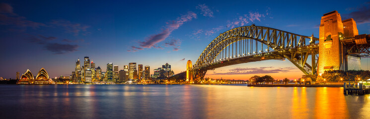 Aluminium Prints Oceania Sydney. Panoramic image of Sydney, Australia with Harbour Bridge during twilight blue hour.