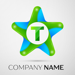 Letter T vector logo symbol in the colorful star on grey background. Vector template for your design
