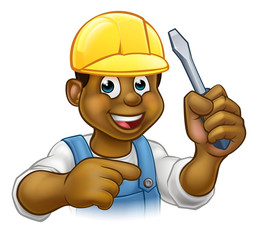 Black Electrician Handyman With Screwdriver