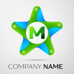 Letter M vector logo symbol in the colorful star on grey background. Vector template for your design