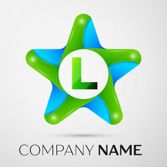 Letter L vector logo symbol in the colorful star on grey background. Vector template for your design