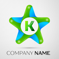 Letter K vector logo symbol in the colorful star on grey background. Vector template for your design