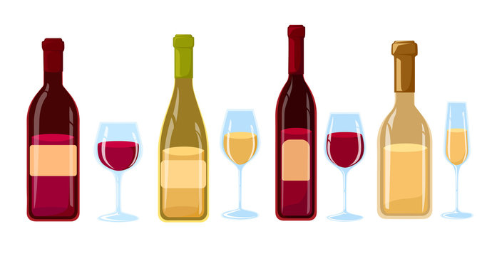 Different Kinds of Wine Bottles Without Labels Flat design illustration of wine bottles and glasses with various types of wine