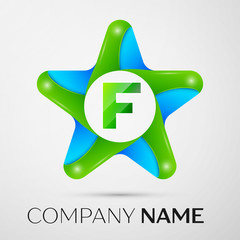 Letter F vector logo symbol in the colorful star on grey background. Vector template for your design