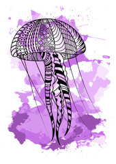 Line art hand drawing black jellyfish isolated on white background with violet watercolor blots. Doodle style. Tatoo. Zenart. Zentangle.Coloring for adults.