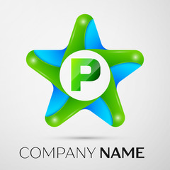 Letter P vector logo symbol in the colorful star on grey background. Vector template for your design