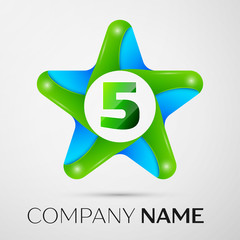 Number five vector logo symbol in the colorful star on grey background. Vector template for your design