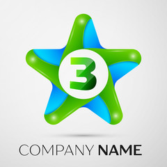 Number three vector logo symbol in the colorful star on grey background. Vector template for your design