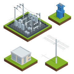 Electric Energy Factory Distribution Chain. Communication, technology town, electric, energy. Vector isometric illustration