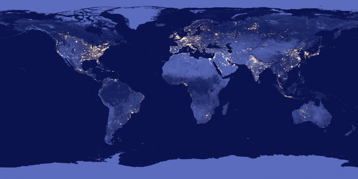 Earth by night - Elements of this image are furnished by NASA