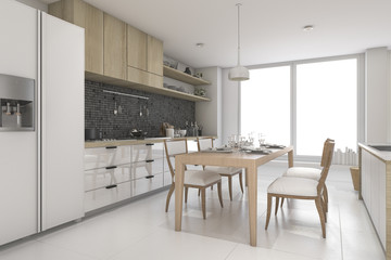 3d rendering white modern and minimal style dining room